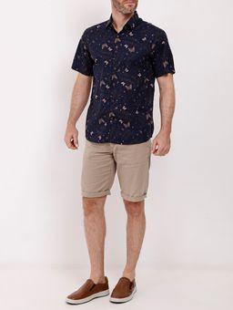 Camisa-Manga-Curta-Estampada-Amil-Masculina-Azul-Marinho
