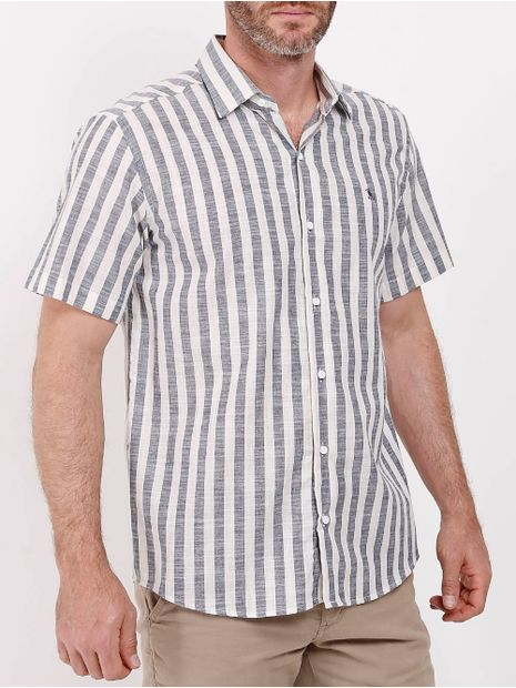 Camisa-Manga-Curta-Listrada-Masculina-Bege-marinho