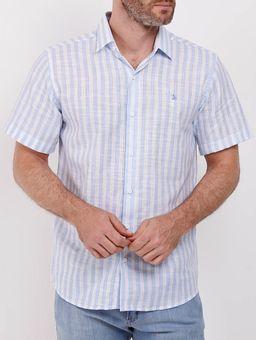 Camisa-Manga-Curta-Listrada-Masculina-Branco-azul