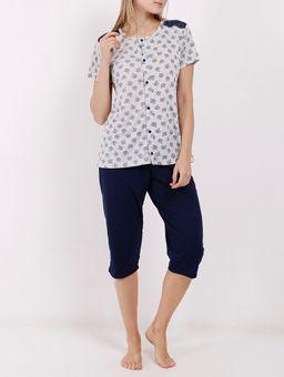 Pijama-Curto-Feminino-Cinza-azul-Marinho