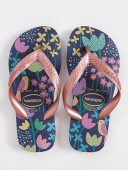 Chinelo-Havaianas-Kids-Flores-Infantil-Para-Menina---Azul-Marinho-dourado-25-26