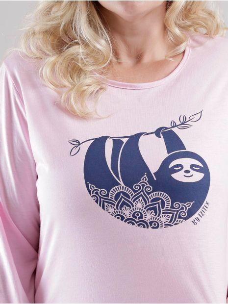 Pijama-Longo-Plus-Size-Feminino-Rosa-azul-Marinho