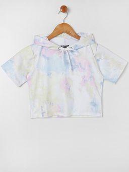 Blusa-Manga-Curta-Tie-Dye-com-Capuz-Infantil-Para-Menina---Azul