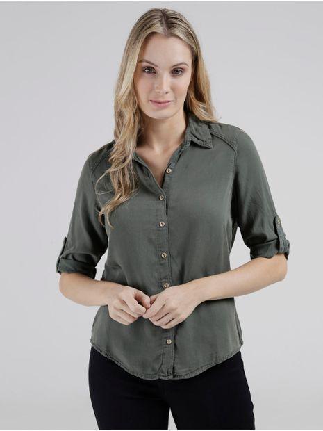 Camisa-Liocel-Manga-3-4-Feminina-Verde-Escuro