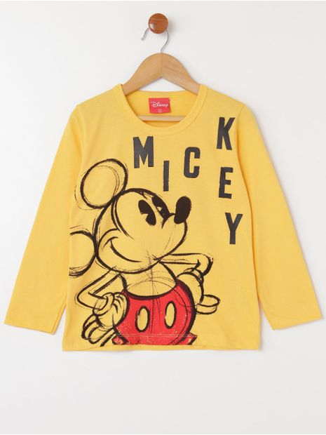 Camiseta-Manga-Longa-Disney-Infantil-Para-Menino---Amarelo