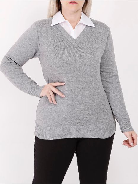Blusa-de-Tricot-Plus-Size-Feminina-Cinza-G2