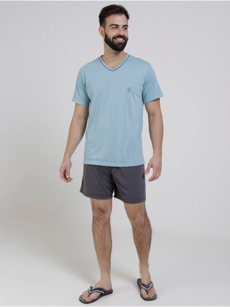 Pijama-Curto-Masculino-Verde-cinza