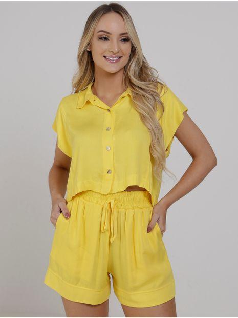 Camisa-Cropped-Feminina-Amarelo