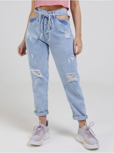 Calca-Mom-Jeans-Recorte-Vazado-Feminina-Azul