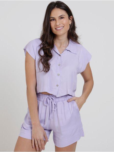 Camisa-Cropped-Feminina-Lilas