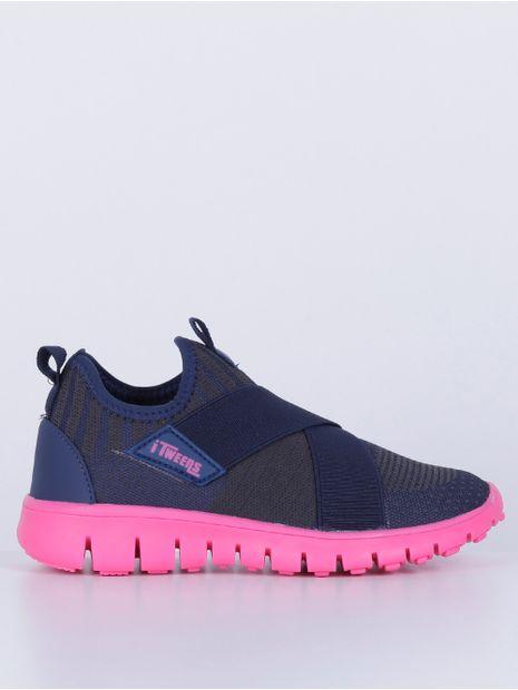 Tenis-Knit-Juvenil-Para-Menina---Azul-Marinho-rosa