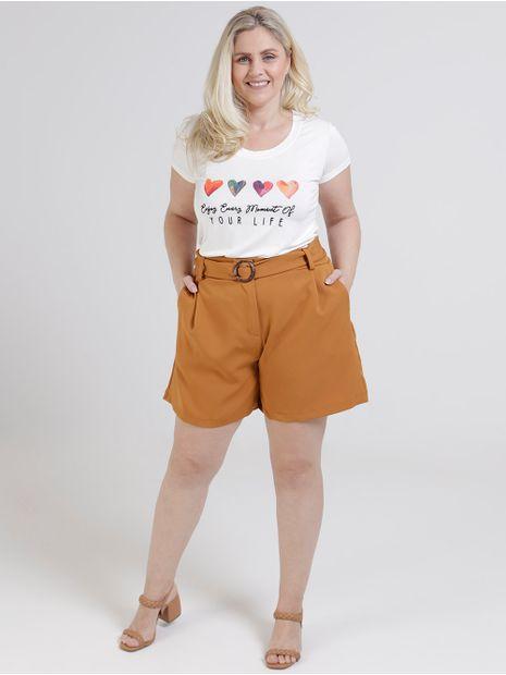 Short-de-Tecido-com-Cinto-Plus-Size-Feminino-Marrom